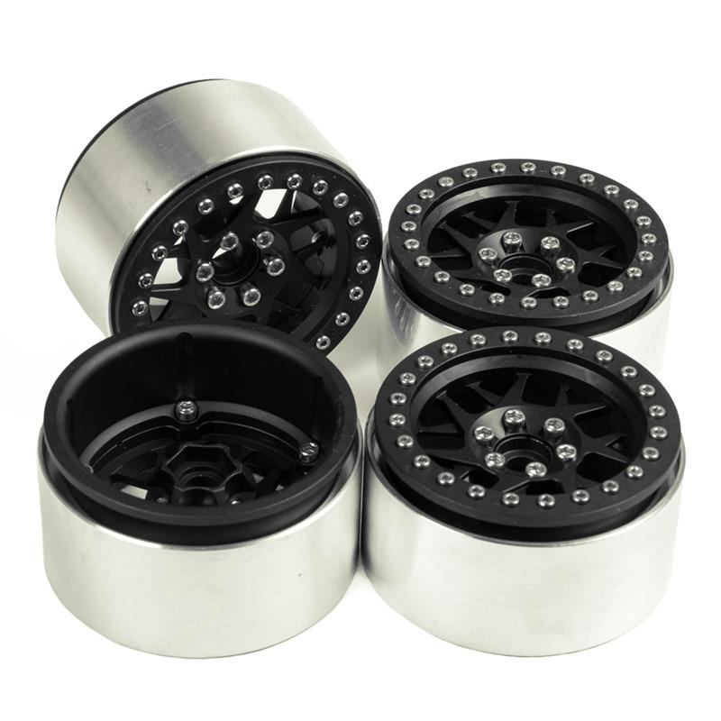 4pcs/lot 2.2 35mm Thickness Beadlock Wheel Rims RC 1:10 Rock Crawler Alloy Wheels Rims For RC Crawler SCX10 90018 Wheel Hub axspeed 1 9   rc crawler wheels alloy