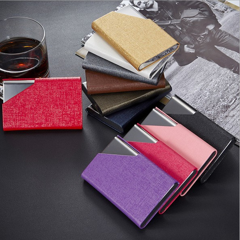 ᑎ‰Candy Color Business Card Wallet PU Leather Men Women ...