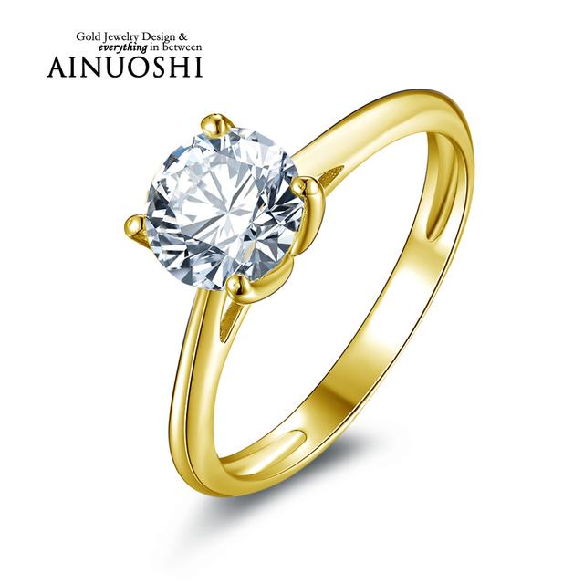 Ainuoshi 10 k sólido oro amarillo anillo de bodas 1.25 ct solitario diamante simulado anelli donna propuesta brillante anillos para las mujeres