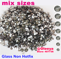 Tamanhos Mix Cinza Claro Nail Art Strass ss4 ss6 ss8 ss10 ss12 Pedra de Vidro de Cristal Não Hotfix ss20 ss30 Cola Para Unhas 3D H0238