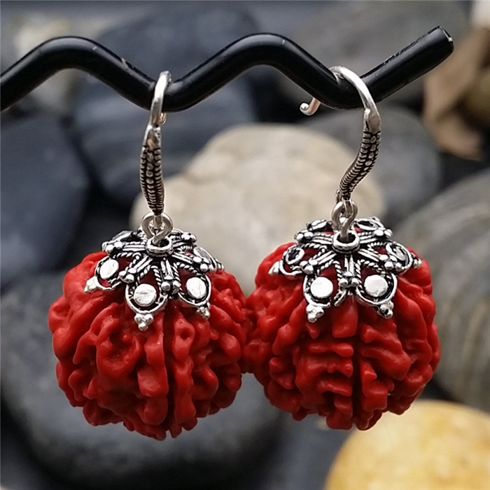 Natural cinnabar Earrings S925 silver earrings earrings Thai Red Bodhi Tremella nail imported national retro ear line