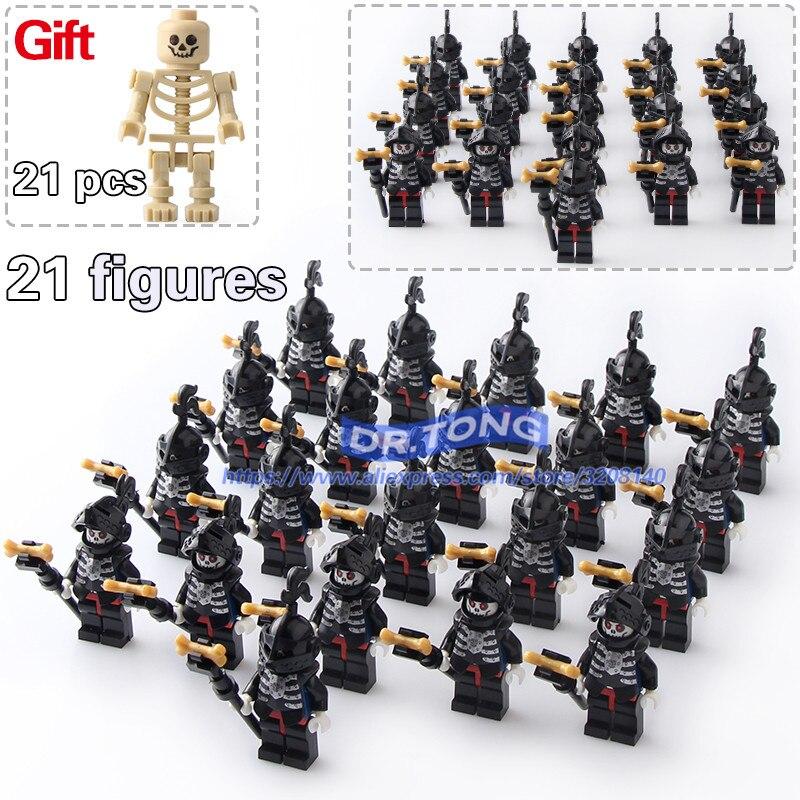 DR.TONG 21pcs/lot Medieval Castle Knight King Knight Skeleton Knight Building Blocks Bricks Set Models Toys Children Gifts 9815