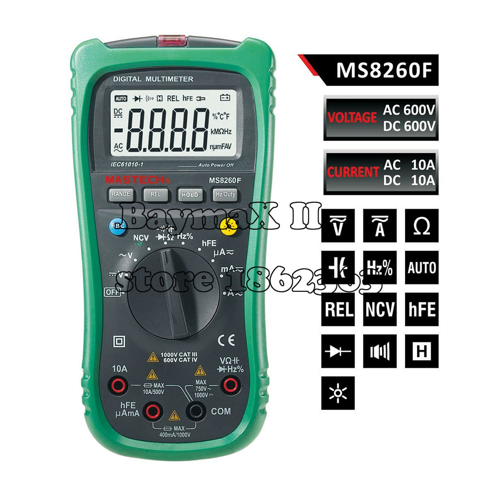MASTECH MS8260F Megohmmeter DMM Frequency Capacitor w/NCV & hFE Meter & LCD Backlight Multimetro Auto Range Digital Multimeter 100% original fluke 15b f15b auto range digital multimeter meter dmm