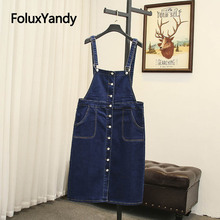 Sleeveless Denim Dress Plus Size Women Casual Suspenders Vestidos Mini Spaghetti Strap Overalls Blue SWM1201
