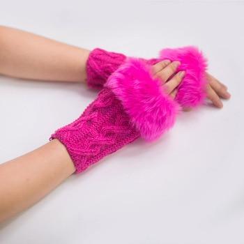 Fur new women diamond wool fingerless gloves imitation wool color half finger gloves half palm computer short gloves pair of stylish solid color faux fur fingerless gloves for women