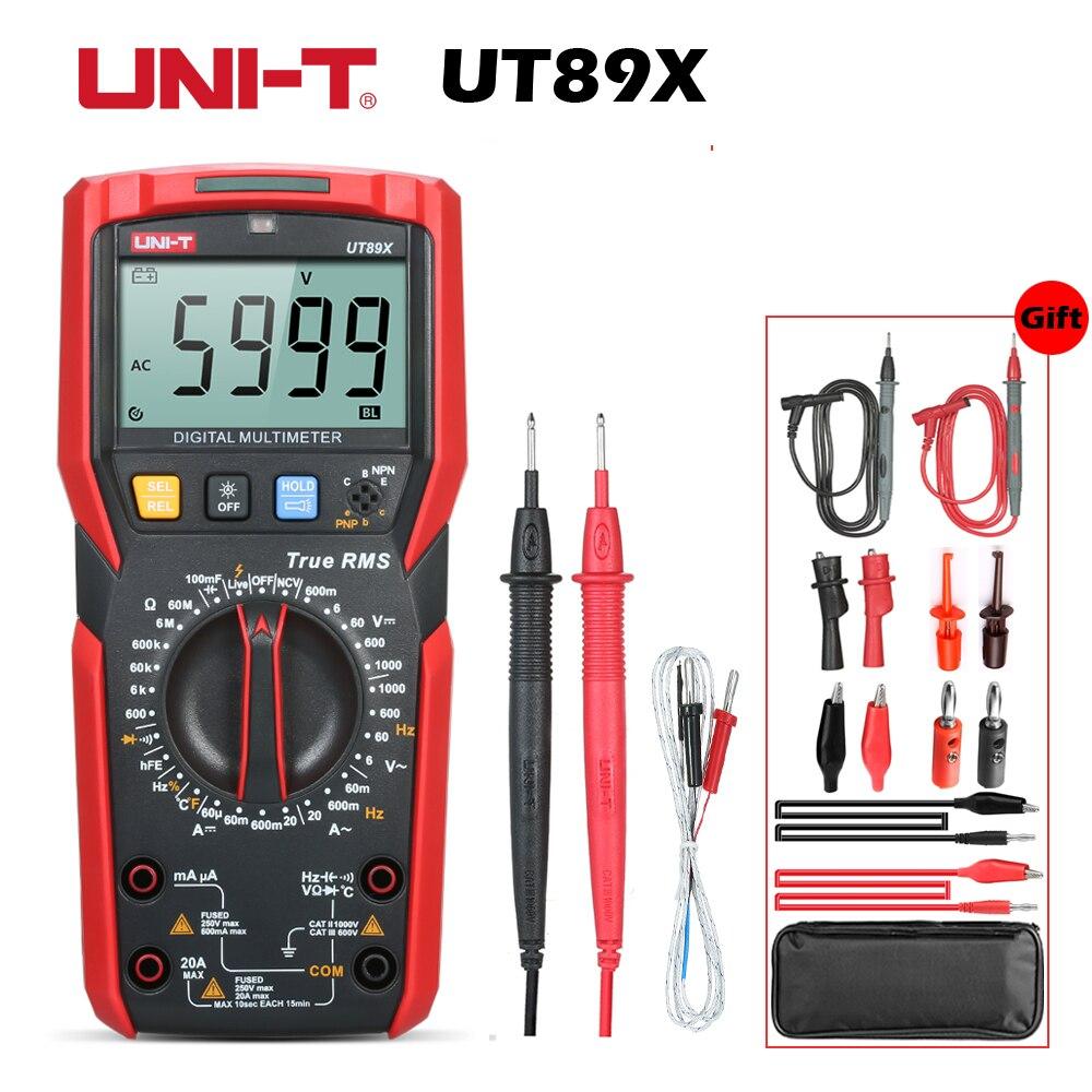 UT89X True RMS Digitale Multimeter 1000V 20A DC CA Multimeter 2 8 LCD Display 6000 Counts
