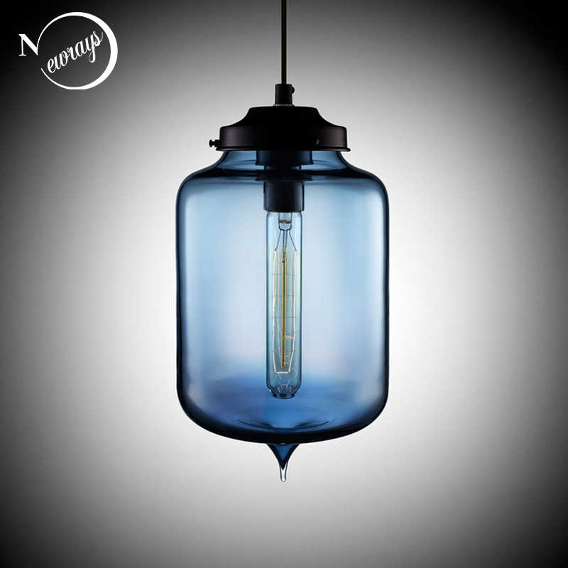 Loft Vintage Antique Industrial Colorful Glass Pendant Lights Fixtures with 6 Color Lampshade E27/E26 for Restaurant Cafe Bar