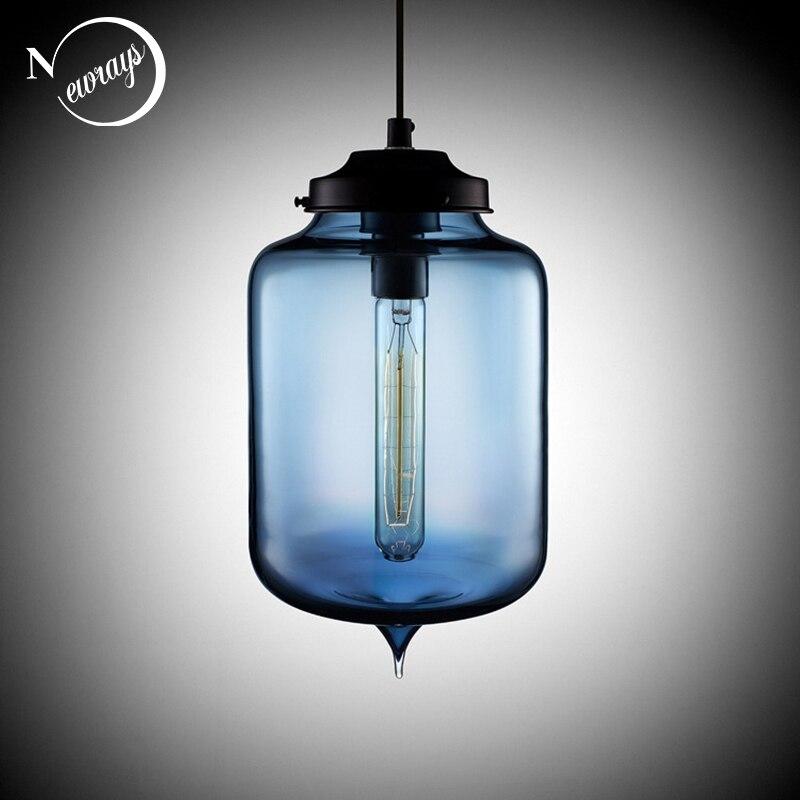 Loft Vintage Antike Industrielle Bunte Glas Anhanger Lichter