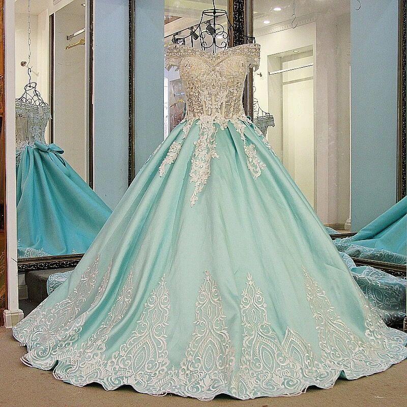 Taille personnalisée nouveauté 2019 princesse Satin dentelle perles cristal robes formelles longue luxe robe de soirée Dubai caftan AU1M