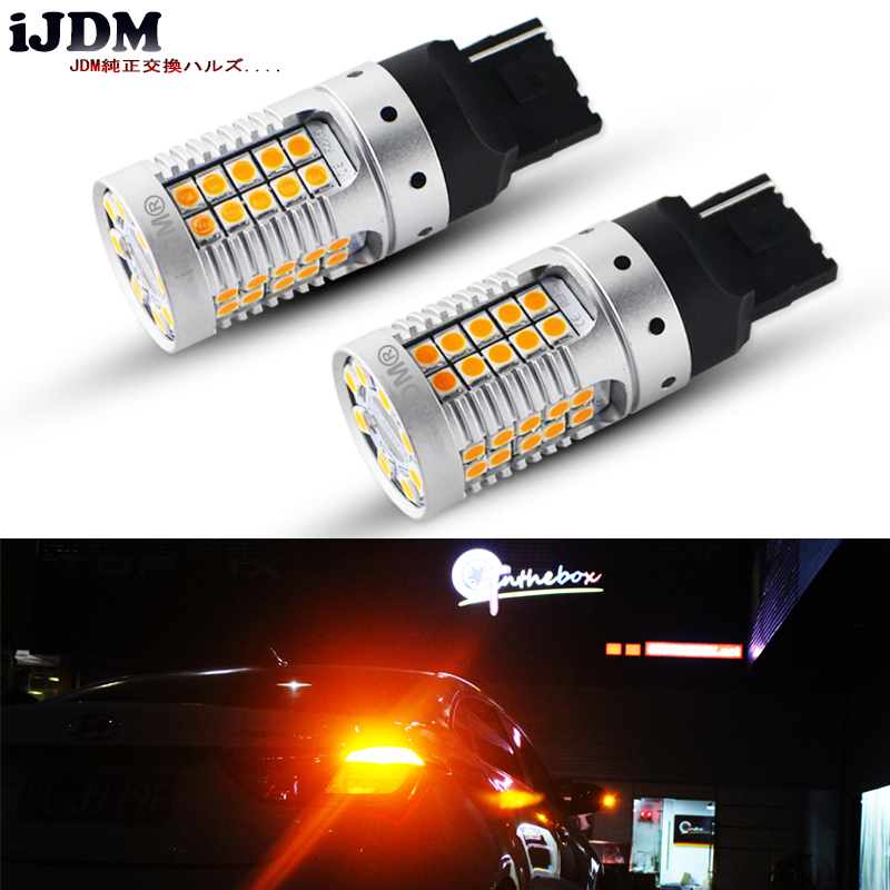 iJDM Canbus No Hyper Flash Amber Yellow 7440 W21W WY21W T20 LED Replacement Bulbs For Car Auto Front or Rear Turn Signal Lights ijdm no hyper flash bau15s s25 7507 led white amber switchback led bulbs for daytime running lights turn signals 12v canbus