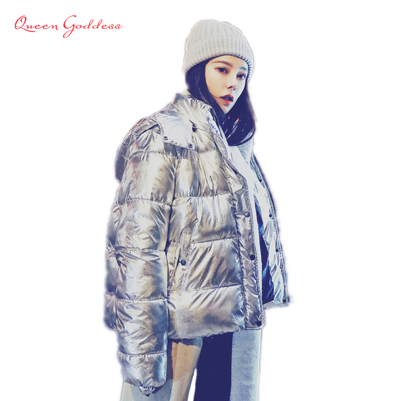 2018 new arrival fashion style shine winter and spring down jacket Metal color thickening outwear with