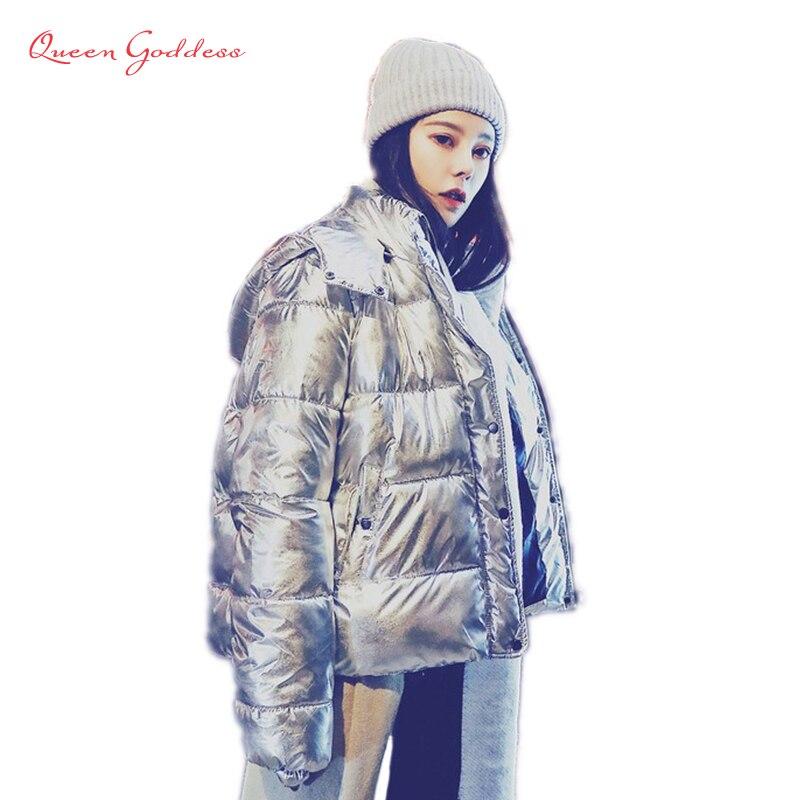 2018 nouvelle arrivée style de mode briller hiver et printemps vers le bas veste En Métal couleur épaississement outwear avec capuche chaud manteau occasionnel