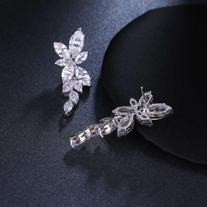 LXOEN Hầu Tước Hoa Cắt Hoa Zirconia Dài Pha Lê Bông Tai Giọt dành cho Nữ Sáng Bóng Lá Đá CZ Cưới cô dâu Trang Sức