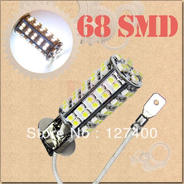 2pcs H3 68 SMD Pure White Fog Signal 68 LED Car Light Bulb Lamp parking