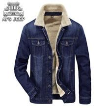Original Brand AFS JEEP Winter Men Jackets Jeans New 2017 Warm Thick Coat Fur inside Windbreak Comfortable Soft Material Clothin