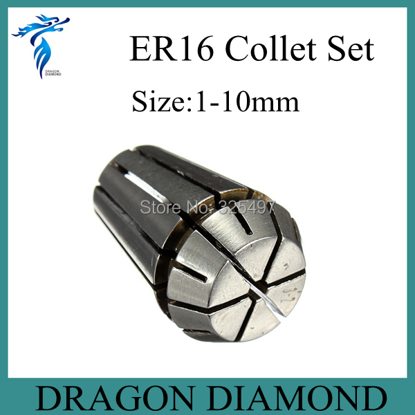 Free Shipping 10pcs ER16 collet set 1 mm to 10 mm for CNC milling machine spindle motor free shipping 500w er11 collet 52mm diameter dc motor 0 100v cnc carving milling air cold spindle motor for pcb milling machine