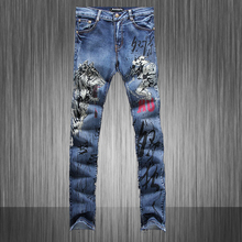 Мужская личность тигр печати джинсы Мужской моды slim fit джинсовые брюки Прямые длинные брюки Высокое Качество MB570 Z20