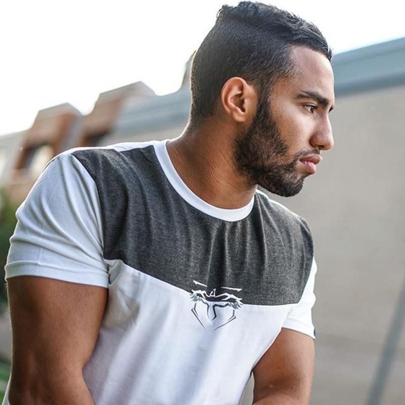 Europe Size Solid color 95% Cotton T Shirt Mens Patchwork T-shirts 2018 Summer Skateboard Tee Boy Hip hop Skate Tshirt Tops