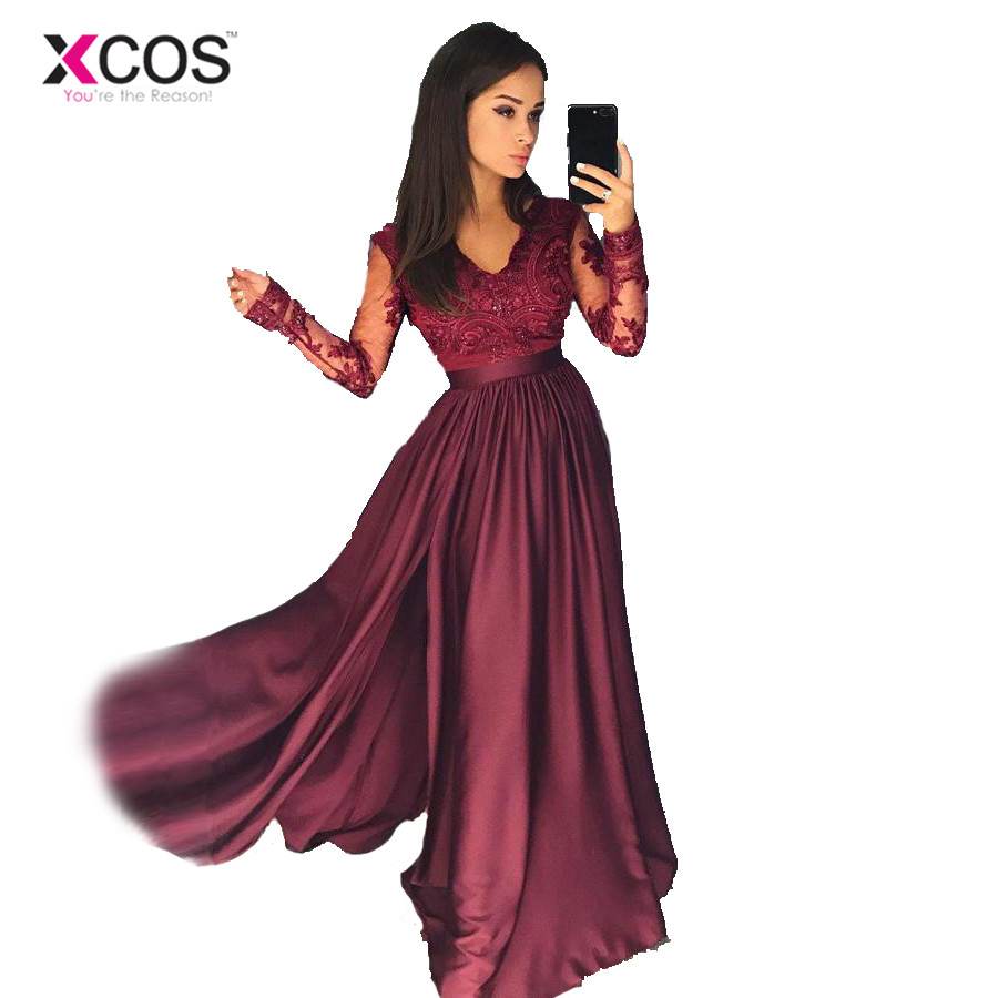 XCOS Free Shipping Burgundy Long Sleeve Evening Dresses Appliques See Through Lace Prom Gowns for Girls vestido de noche