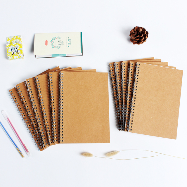 d7cb7599e95e0 US $5.51 5% OFF|Classic craft cover coil notebooks stationery,vintage  office school multi function planner notebooks supplies,11 kinds, A5 A6-in  ...