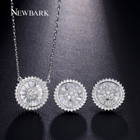 NEWBARK Classic Flying Saucer Earrings And Necklace Multi Shaped CZ Diamond 18k White Gold Plated Jewerly