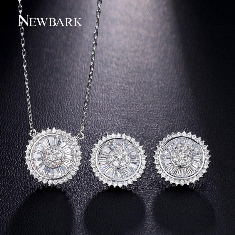 5e12dbe4cf0f Newbark clásico mujeres Juegos de joyería diseño redondo cúbicos zirconia  collar Pendientes parure mujeres calidad superior Juegos de joyería para el  ...