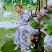 Линетт's CHINOISERIE вышивка крестом Винтаж Королевский деревенский принцесса хлопок ткань длинное цельнокроеное платье