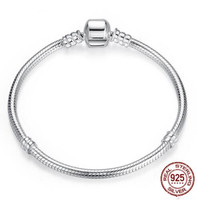 Authenetic 925 Sterling Silver Snake Chain Lobster Clasp Basic Pandora Bracelet Bangle Fit Women Bead Charm