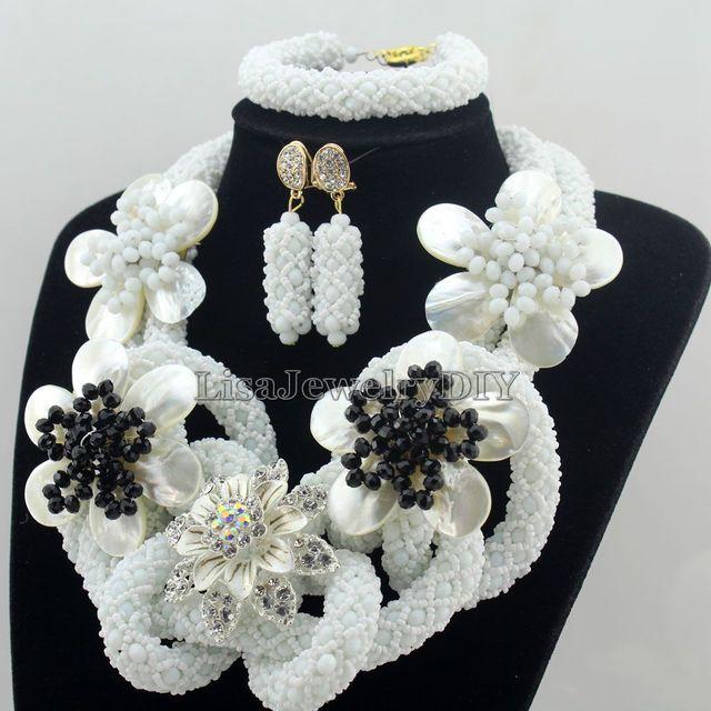 Fabulous Nigerian Crystal Beads Necklace Jewelry Set Handmade White African Style Wedding Jewelry Set Free Shipping HD7508