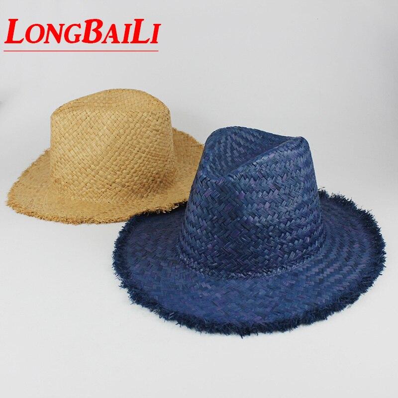 76ddff2b7f745 Summer Unisex Wide Brim Raffia Straw Fedora Hats For Women Chapeu Men Plain Sun  Beach Caps Female SDDS040