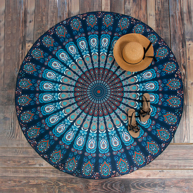 Aliexpress Com Buy Vintage Dark Blue Round Beach Towel