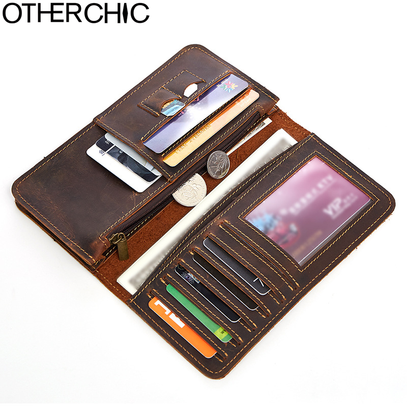 OTHERCHIC New Crazy Horse Genuine Cowhide Leather Men Long Wallet Card Holder Vintage Wallet Brand Designer Men Purse 17Y05-27 man standard wallets crazy horse leather 2018 new fashion men brand vintage genuine leather wallet card