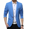 Men's Korean slim fit fashion cotton blazer Suit Jacket Black Blue Khaki Plus size M-5XL Male blazers Mens coat Wedding dress