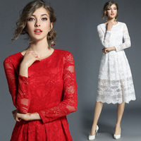 Plus Size 3XL 2018 Spring Simplee Elegant Hollow Out Lace Dresses Women Long Sleeve O neck New Style SLim White Dress Vestidos