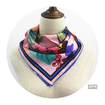 квадратный шелковый шарф | [XiuKe] шарфы Новая мода женский шелковый шарф бандана с рисунком маленький квадратный шарф птица цветок саржевая шелковая шаль Размер: 52x52