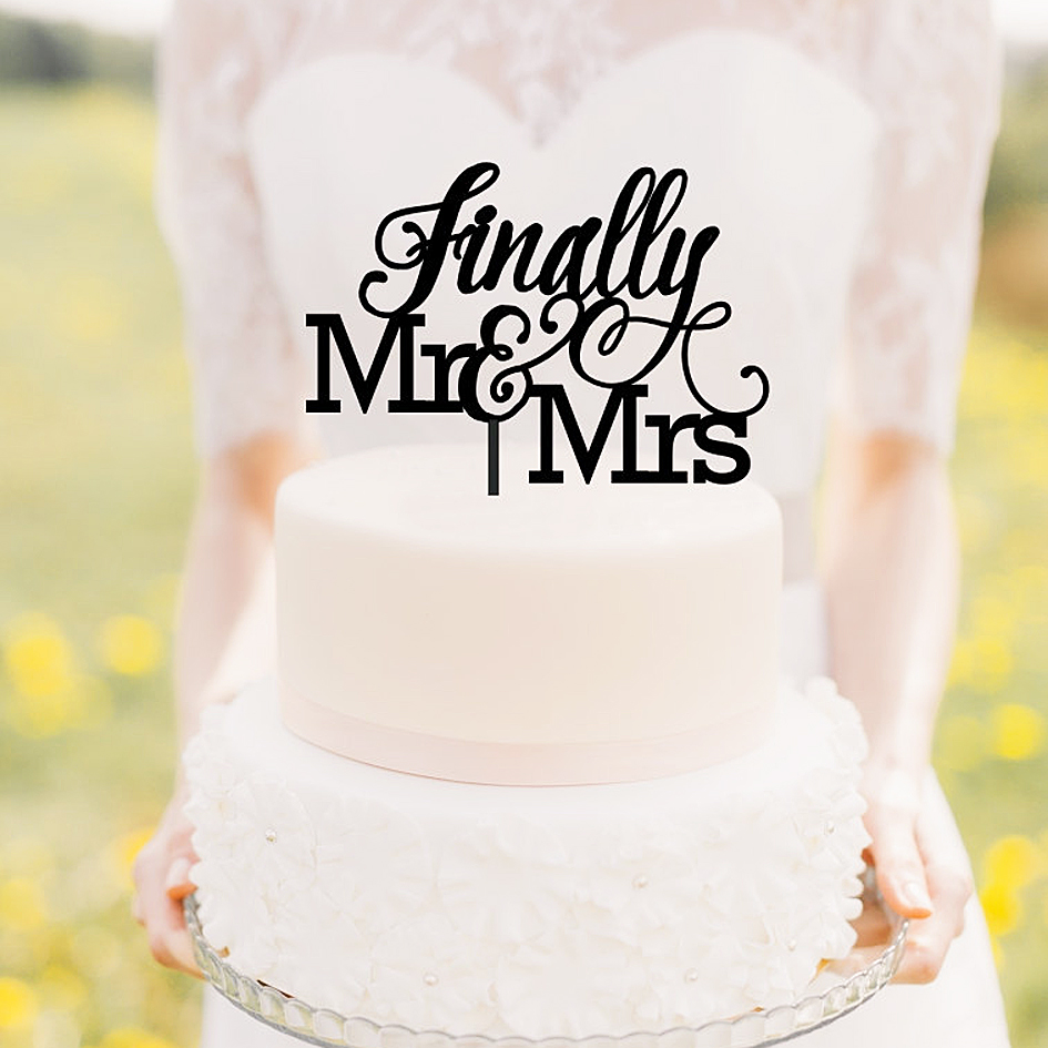 1st Wedding Anniversary Decoration Ideas At Home: Finally Mr And Mrs Wedding Cake Topper Rustic Wedding Cake