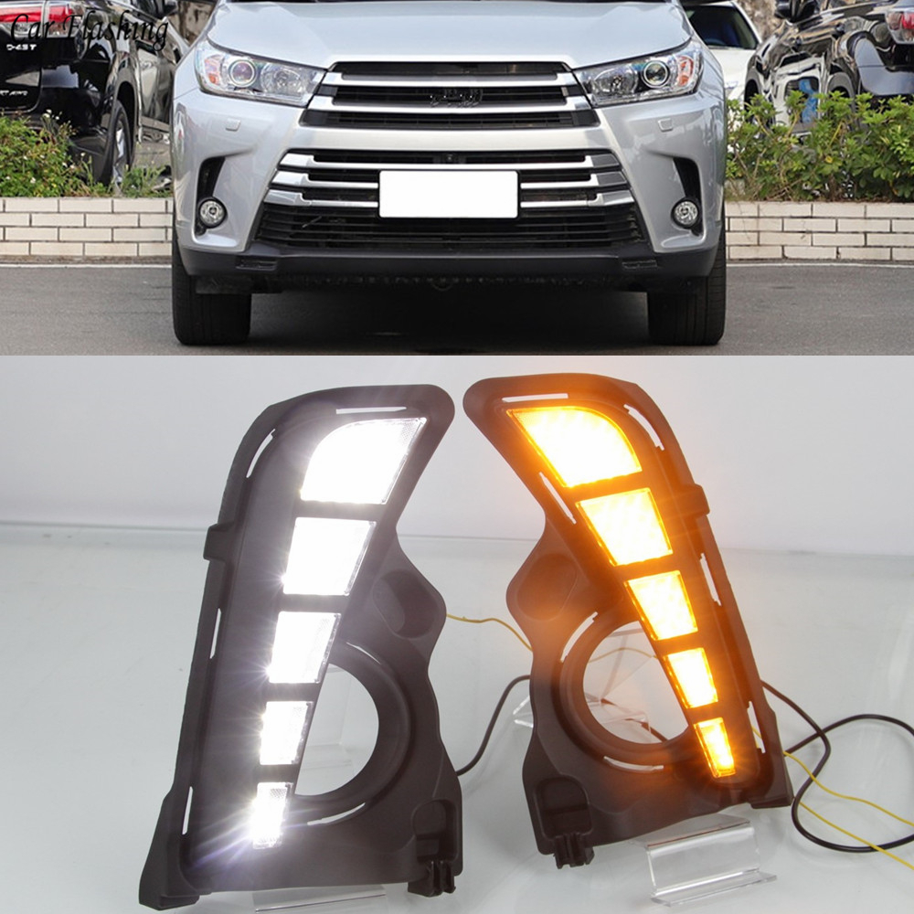 Car Flashing 1 Pair Daylight Car LED DRL Daytime Running Lights Fog lamp Cover With Turn