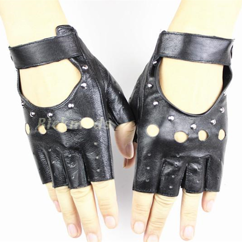 Fingerless Handskar 2017 Ms Fashion Style Hollow Rivet Half Finger 100% Sheepskin Leather Drivers Olika färger