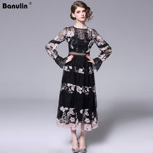 Banulin 2019 Spring Fashion Runway Casual Vintage Black Dress Womens Gorgeous Hollow out Embroidered Flower Lace Long