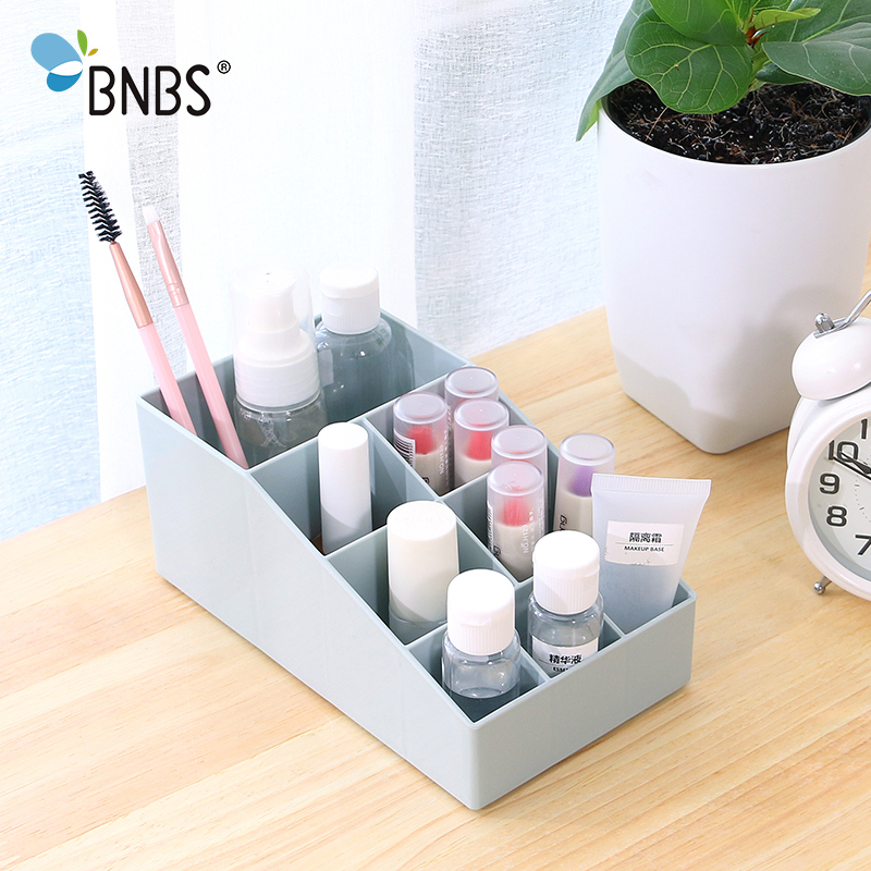 BNBS Mini Cosmetic Jewelry Organizer Desk Makeup Lipstick Box Plastic Multifunctional Office Stationery Sundries Storage Holder