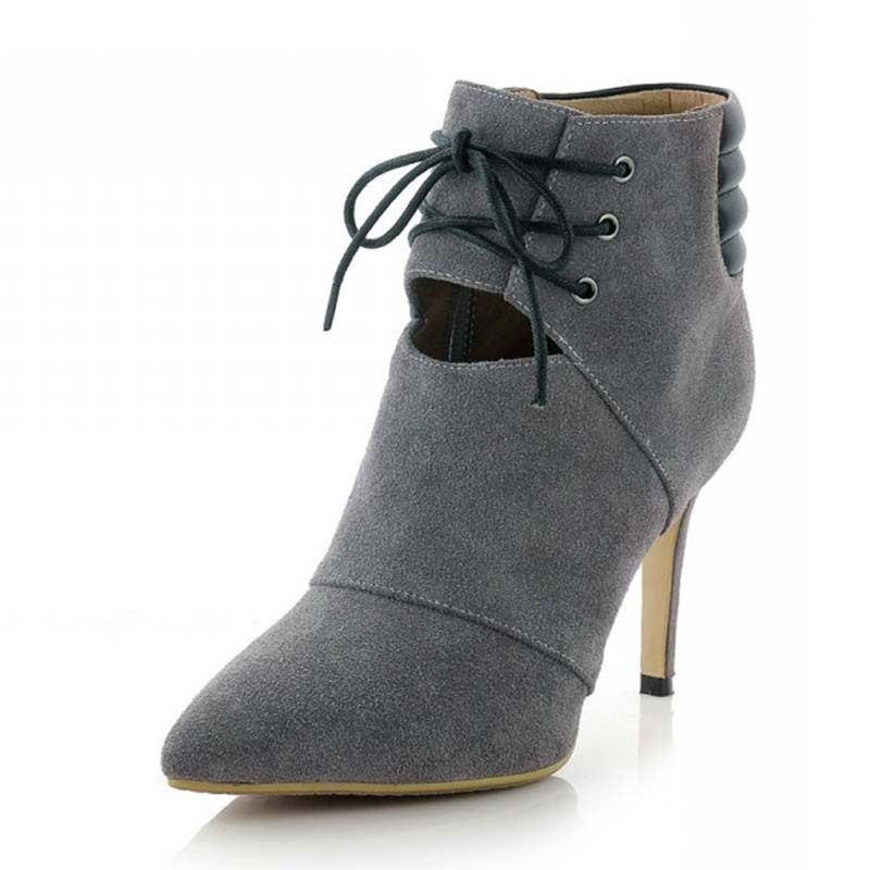 ФОТО Leather boots Sexy Lace-Up Thin Heels High shoes platform pumps Fashion Ankle boots for women new hot Banquet Winter