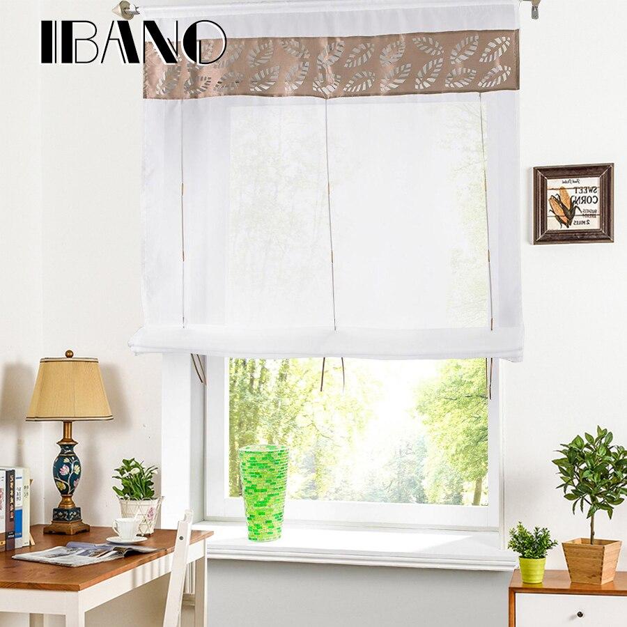 Roman Shade European Hollow Style Window Curtain Kitchen Curtain Voile Sheer Tab Top Window Brand Curtains Cortinas Wth Pole