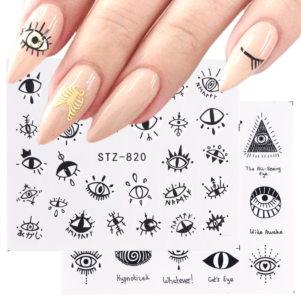 Image 5 - 1pc Eye Series Water Transfer Slider for Nail Art Decorations Charming Sticker Nail Manicure Tattoos Foil Decals CHSTZ818 823-in Stickers & Decals from Beauty & Health