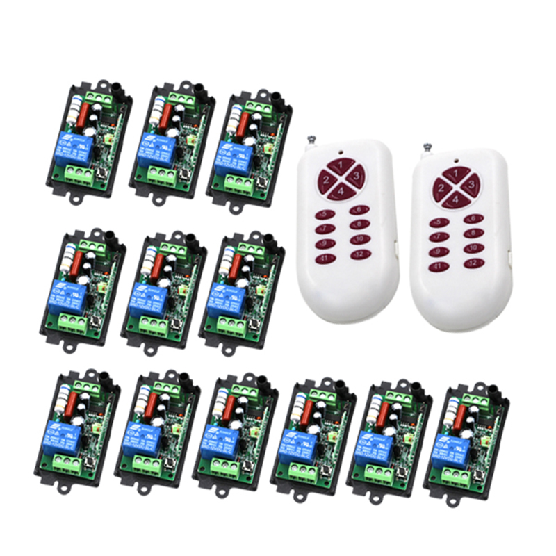 RF wireless remote control light switch 220v 110V Power Switch System 12 Receiver& 2 12CH Transmitter 10A Light Lamp LED 4301 10pcs mini blutooth earphone small wireless s530 headset microphone earphone micro s530 earpiece sport headphones for xiomi sony