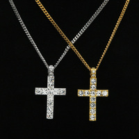 Hip Hop Jewelry Cross Pendant Necklace Iced Out Bling Rhinestone Crystal Cuban Chains Necklace Big Gold