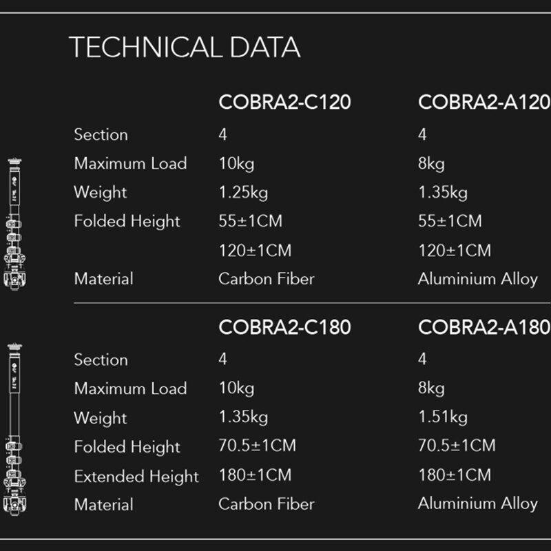 Image 3 - iFootage COBRA 2 Lightweight camera Monopod 120CM Carbon Fiber Portable DSLR Video Monopod / Adjustable  Camera Pod-in Tripods from Consumer Electronics