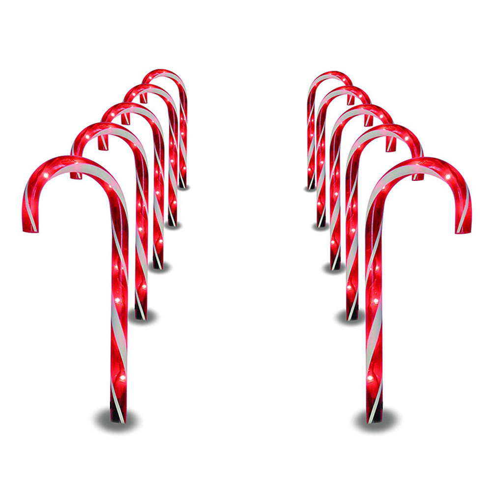 1 PC Christmas Pathway Candy Cane Walkway Light 10 Inch Stakes Lamp Outdoor Yard Decor  M25|Solar Lamps| |  - title=