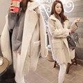 Otoño e invierno nueva Corea loose grueso corderos chaqueta en una larga sección de piel de venado de lana chaqueta de abrigo de las mujeres