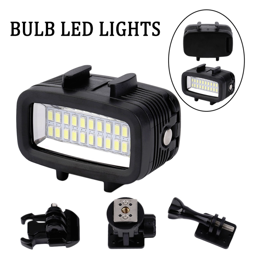 Newest 30M Waterproof Super Bright Underwater LED Video Light Action Camera Diving Lamp Suitable For GOPRO Black 30m video