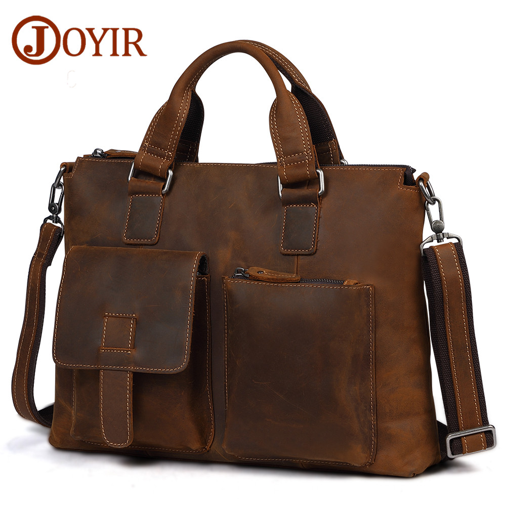 все цены на JOYIR Men's Leather Briefcases Men Business Crazy Horse Genuine Leather Crosboby Shoulder Bag 15
